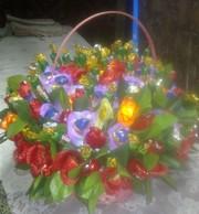 Сердца ,  букеты из конфет к дню Святого Валентина и 8 Марта.